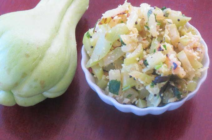 Chayote Squash/Seeme badanekaayi Stir Fry Recipe, How to make Seemebadane kayi Palya Recipe