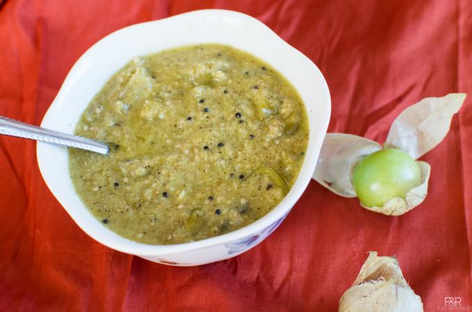 Tomatillo Gojju | Tomatillo in Coconut Mustard Gravy