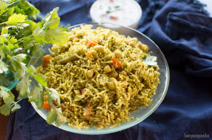 Coriander Leaves Pulav | Cilantro Pulao | Rice recipes